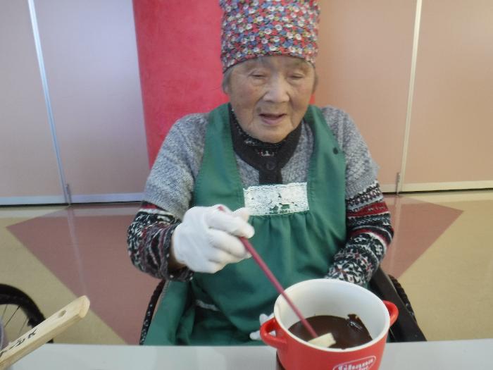 特養 クッキング おやつ レク チョコフォンデュ バレンタイン
